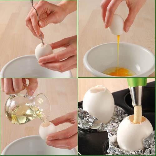 Вначале надо подготовить яичные скорлупки