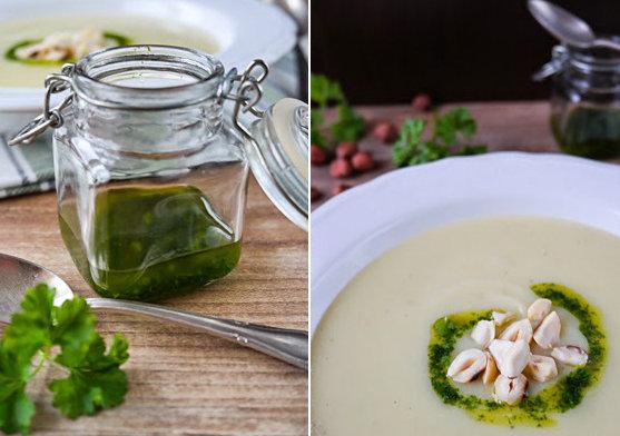 Особый вкус супу придают масло из петрушки и овсяные сливки