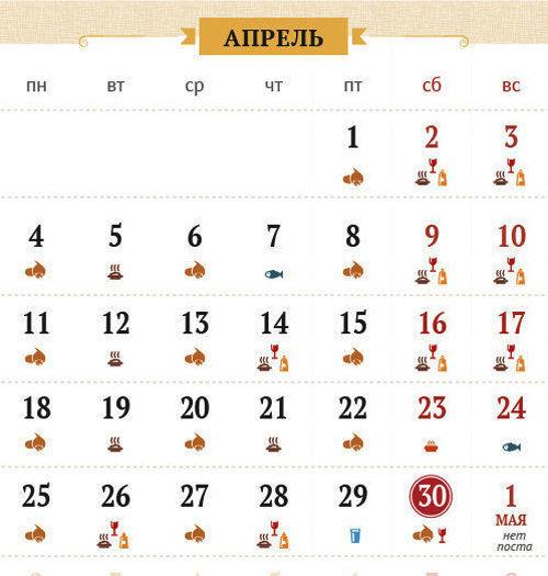 Великий пост 2016. Календарь питания по дням 2