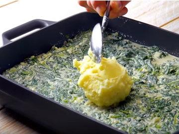 8. Равномерно распределить пюре по шпинатной смеси