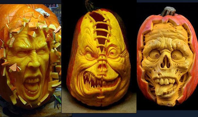 вырезать тыквы на Хэллоуин