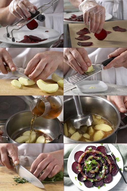 Оригинальный салат Запеченная свекла с яблочно-карамельным соусом