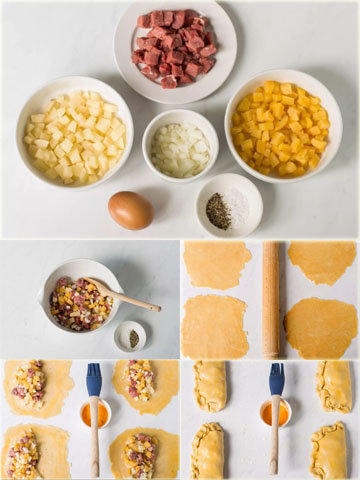 Традиционные пирожки с мясом и картошкой в духовке 2