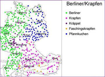Berliner Pfannkuchen называются в разных регионах по-разному
