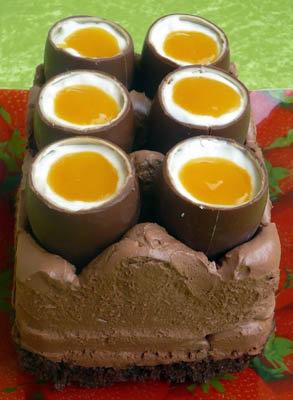 Шоколадный чизкейк с шоколадными яйцами