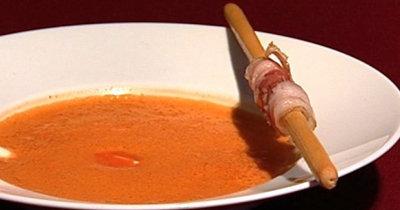 Томатный суп пюре с беконом