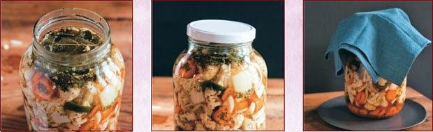 Последовательность закладки овощей для ферментации. Таблица 3