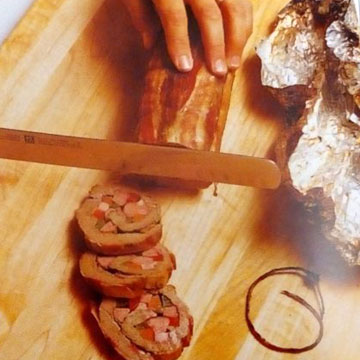 Мясо нарезать кружочками