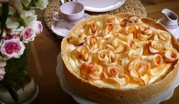 творожный пирог с яблочными розами