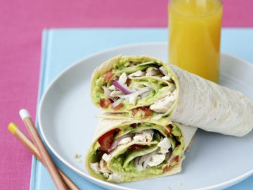 Кебаб с курицей, салатом и авокадо