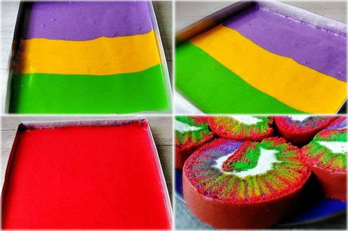 Как сделать на бисквитном рулете рисунок Ураган с 3 или 4 видами цветного теста 1