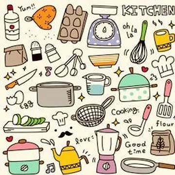 Рисунки кухонных предметов и продуктов 1