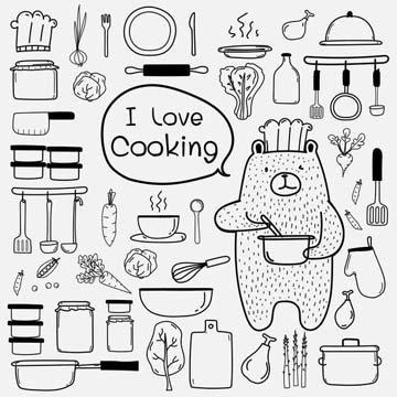 Рисунки кухонных предметов и продуктов 4