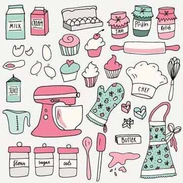 Рисунки кухонных предметов и продуктов