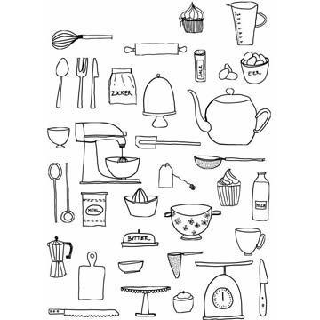 Рисунки кухонных предметов и продуктов3