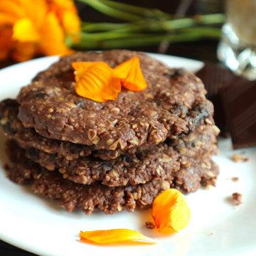 Шоколадное овсяное печенье рецепт веганский, без сахара, без глютена, без выпечки 2