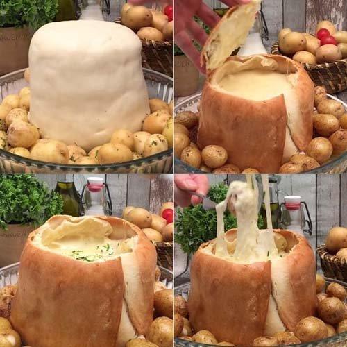 Сыр в духовке камамбер Фондю-башня 2