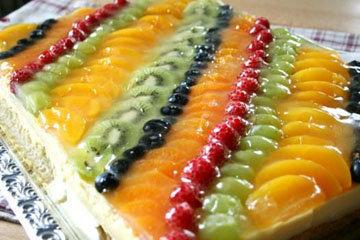 Простой желейный торт с фруктами