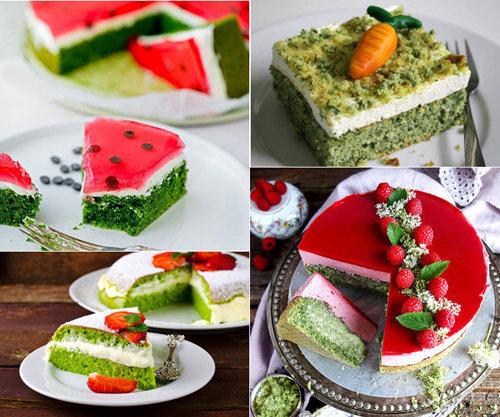 Оформление зеленого торта 1