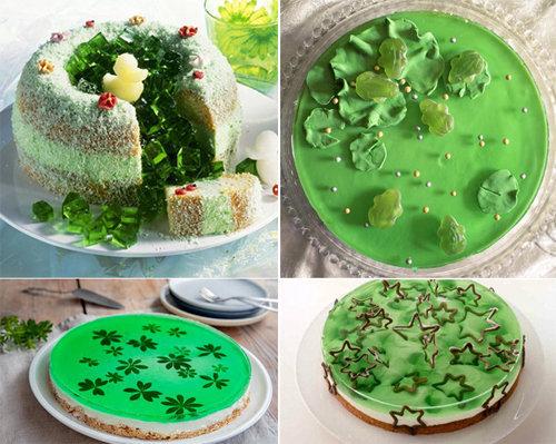 Оформление зеленого торта 2
